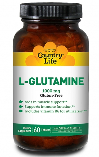 Аминокислоты COUNTRY LIFE L-GLUTAMINE (L-глютамин) 60 таблеток