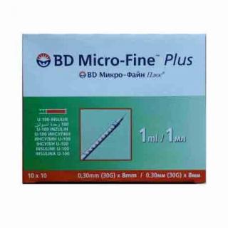 Шприц инсулиновый BD Micro-Fine+ 1,0мл 30G*8мм 100шт